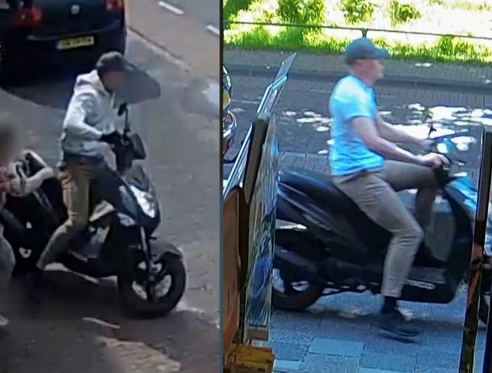 De gezochte kettingrukker komt steeds in actie met een scooter.