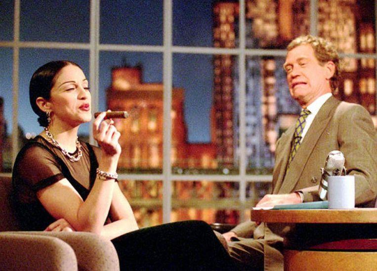 Madonna op de bank bij David Letterman. Beeld rv