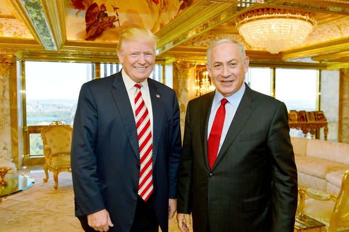 Donald Trump met de Israëlische minister Benjamin Netanyahu