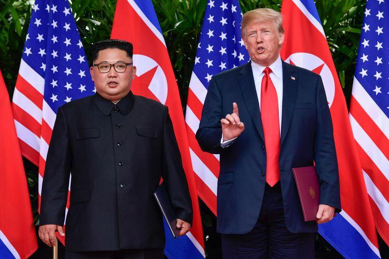Kim Jong-un en Donald Trump op de ontmoeting in Singapore. Beeld AP