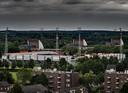 De Braak in Helmond, met het huidige stadion van de voetbalclub