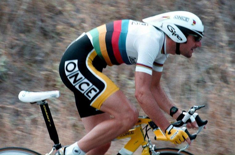 Abraham Olano, hier op een foto uit 1999 tijdens de Ronde van Burgos. Beeld null