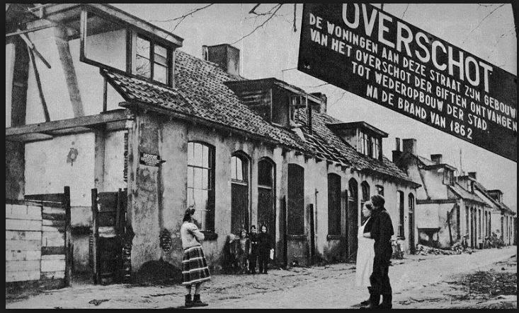 Enschede na de stadsbrand, 1863.