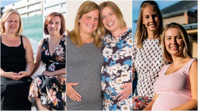 Zwangere vriendinnen Steffie Van Schelvergem uit Kerksken en Karen De Brucker uit Aalst, Loes Leenknecht uit Zwevegem en Marijke Demeestere uit Anzegem en Lisa Marie Demoustiez (21) uit Ninove en Celia Vanderstockt (22) uit Geraardsbergen.