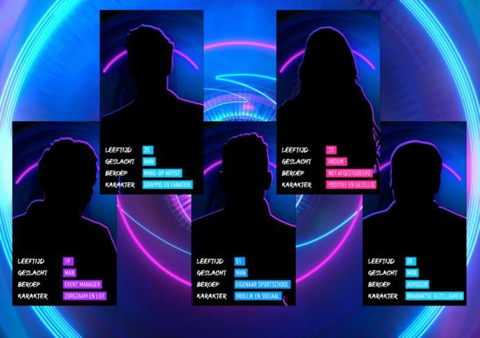 De vijf potentiële nieuwe bewoners bij Big Brother