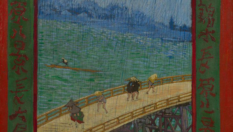 Brug in de regen (naar Hiroshige) van Vincent van Gogh Beeld Van Gogh Museum