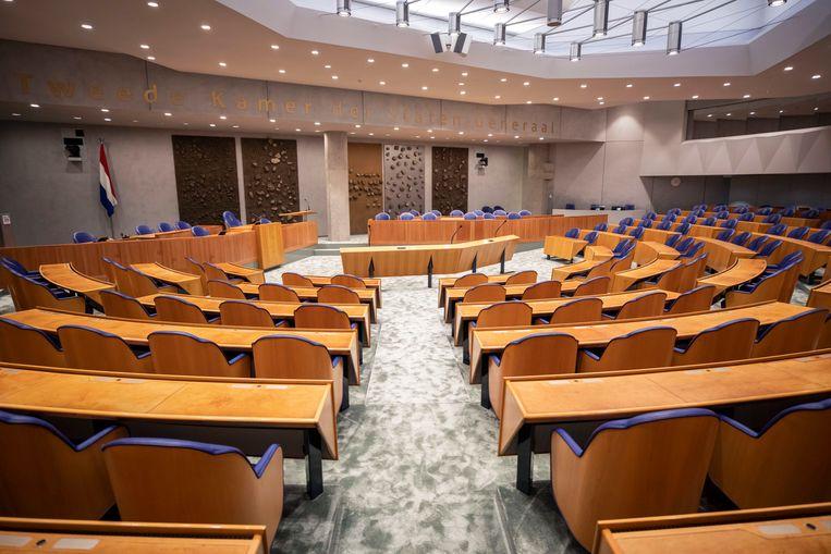 De plenaire zaal in het tijdelijke Tweede Kamergebouw. Beeld Werry Crone