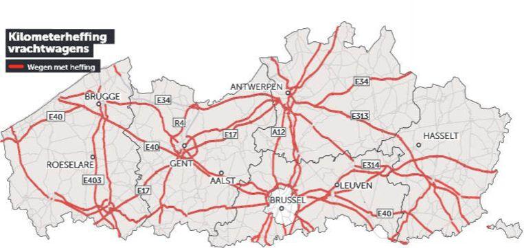 De wegen waar een kilometerheffing zal gelden. Beeld dm