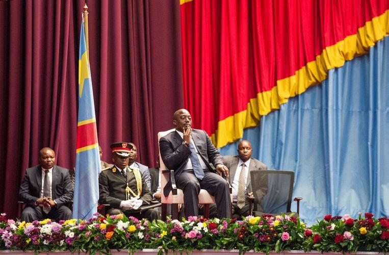 De Congolese president Joseph Kabila in het parlement van Kinshasa. Beeld AFP
