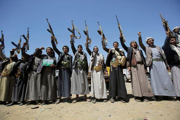 Houthi-rebellen in de hoofdstad van Jemen, Sanaa.