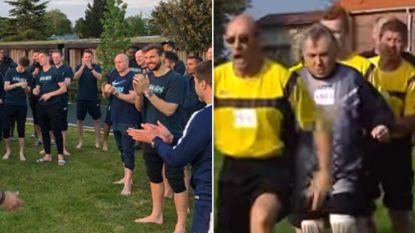 F.C. De Kampioenen achterna: Tottenham-spelers lopen blootsvoets over hete kolen