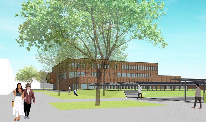Het definitieve ontwerp voor de nog te bouwen schoollocatie van het Kompaan College. Vanaf het schooljaar 2023-2024 verhuizen zo'n 800 leerlingen naar deze gloednieuwe school op het voormalige Flamco-terrein in Zutphen.