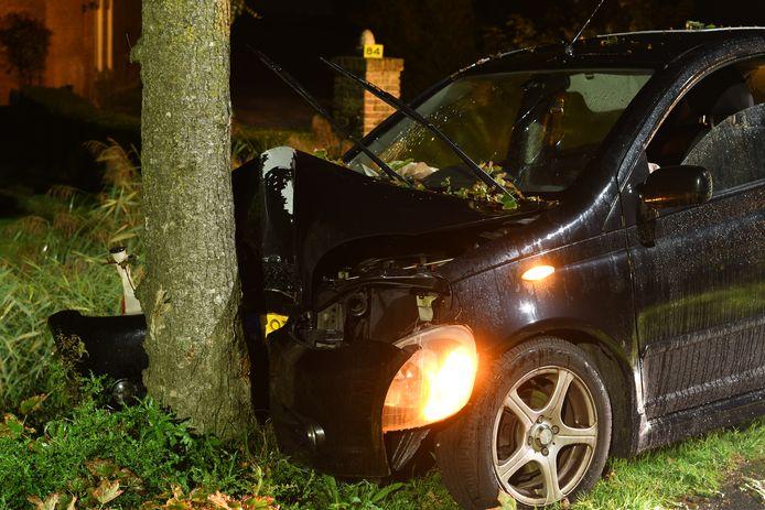 De auto is tot stilstand gekomen tegen een boom.