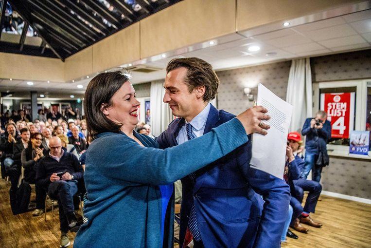 Lijsttrekker Annabel Nanninga met voormalig partijleider Thierry Baudet van Forum voor Democratie. Beeld ANP