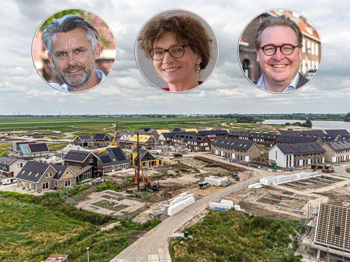 Nieuwbouw in Stadshagen. Volgens de directeuren Evert Leideman (deltaWonen), Wiepke van Erp Taalman Kip (SWZ), Sjoerd Quint (Openbaar Belang) moet er snel een nieuwe uitbreidingslocatie voor Zwolle aangewezen worden.