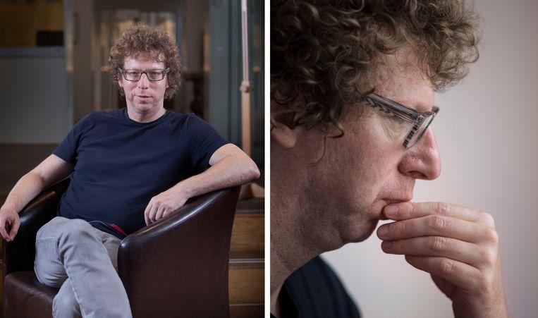 Schrijver en essayist Arnon Grunberg in zijn favoriete kamer 18 van het Ambassade Hotel in Amsterdam. Beeld Werry Crone