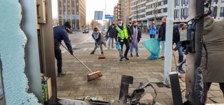 Eindhovenaren schieten Ergon te hulp bij opruimen van puinhopen in centrum