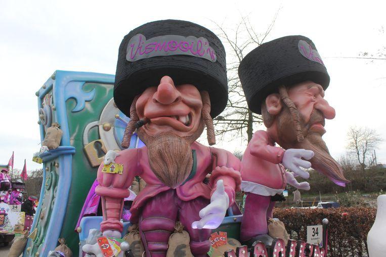 De praalwagen van De Vismooil'n deed de spanning rond Aalst carnaval oplopen. Beeld Belga