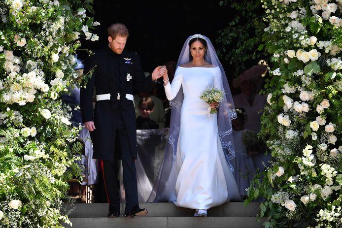 Harry en Meghan op hun - wel degelijk officiële - trouwdag.