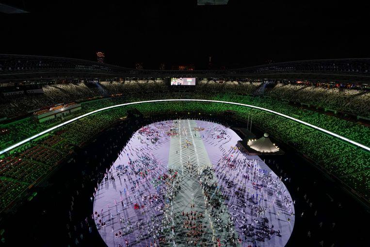 De openingsceremonie van de Olympische Spelen in Tokio.  Beeld AP