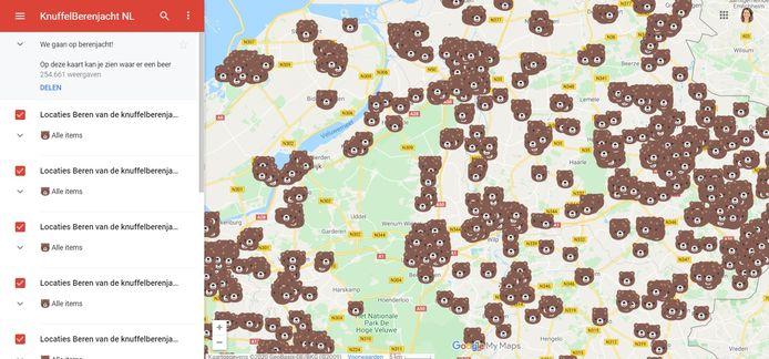 Een deel van de Berenkaart van Nederland