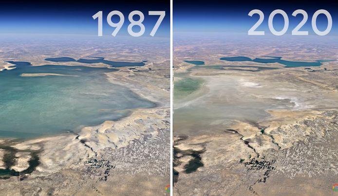 En plus de 33 ans, la mer d'Aral, au Kazakhstan, a pratiquement disparu.