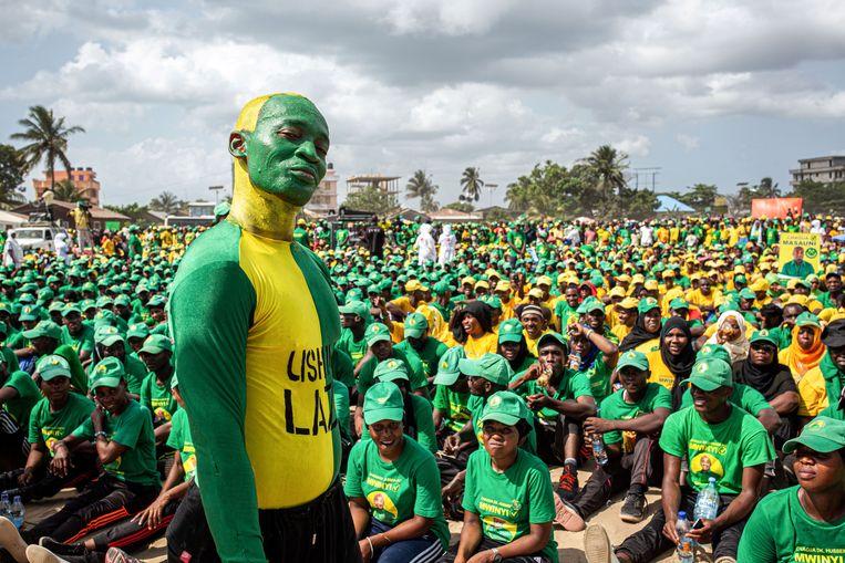 Supporters van president John Magufuli in Tanzania. Beeld AFP