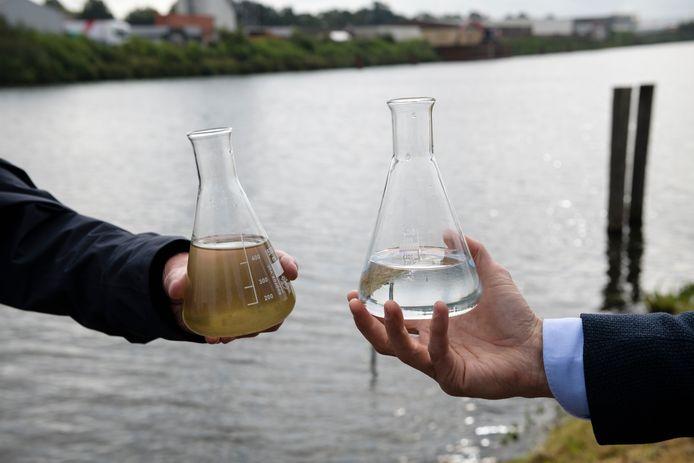 NX Filtration heeft met membraantrchnologie een zuiveringsinstallatie gebouwd waarmee je water (in dit geval) uit Twentekanaal kunt zuiveren. Provinciale Staten zien hierin op middellange termijn de oplossing voor het dreigende drinkwatertekort.