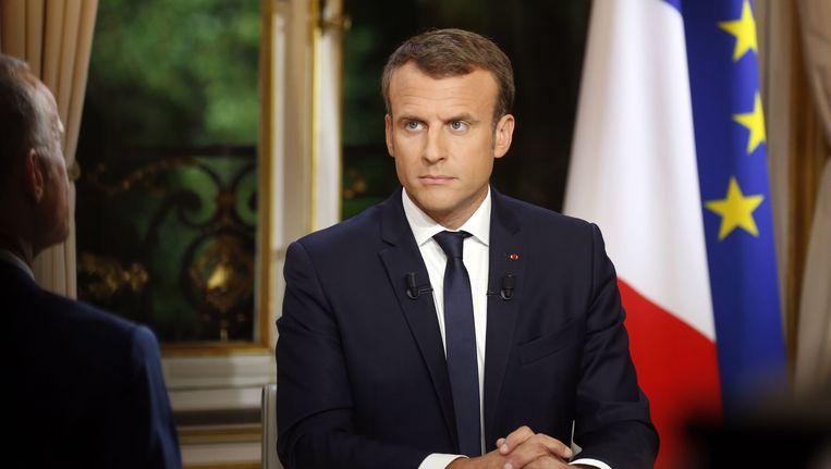 De Franse president geeft zijn eerste tv-interview sinds hij president is. Beeld afp