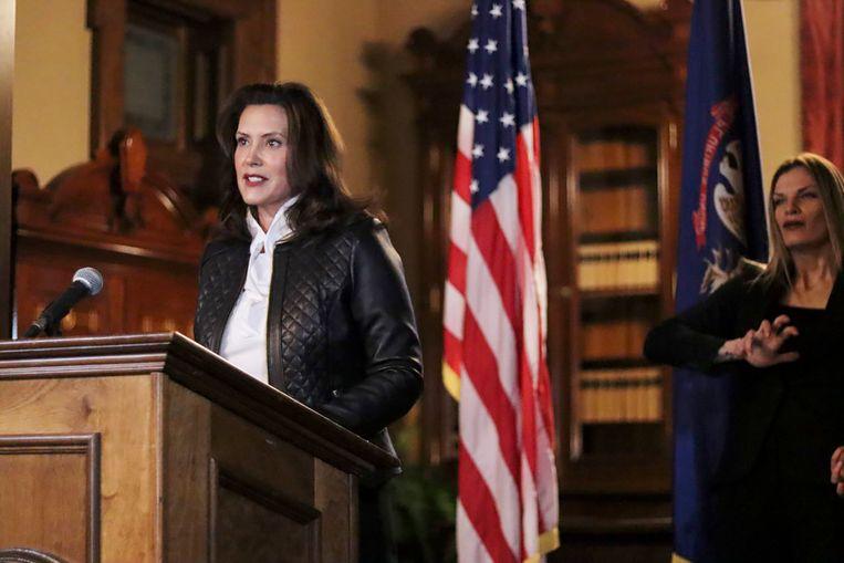 Gouverneur Gretchen Whitmer tijdens een speech. Het FBI kwam een plan op het spoor om haar te ontvoeren.  Beeld AP