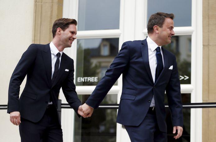 De Luxemburgse premier Xavier Bettel met zijn Belgische echtgenoot