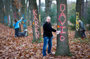 Rob Molenkamp voerde in 2015 actie tegen de kap van bomen in Bos Nimmerdor.