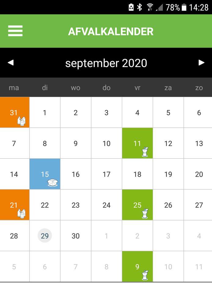 Een pagina uit de nieuwe Avri-app, de kalender met de dagen waarop voor een bepaald adres een container aan de straat moet staan.