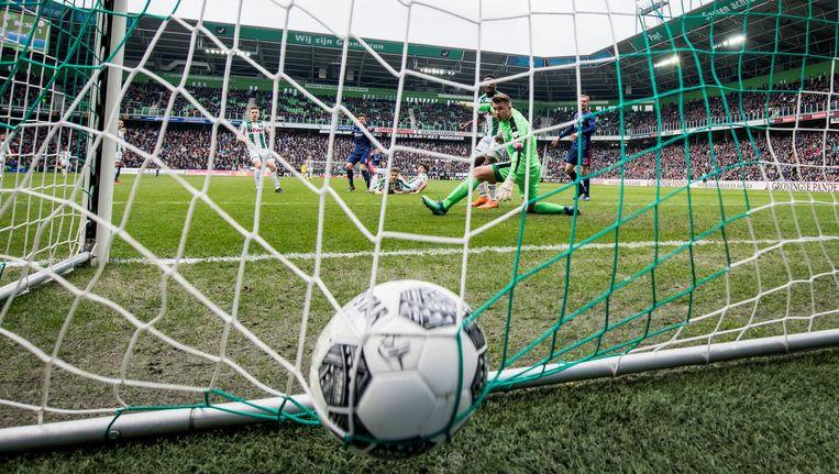 Ajax kende zondagmiddag in stadion Euroborg de ultieme 'narrow escape'. Beeld Pro Shots