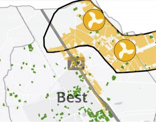 Het in de regionale plannen opgenomen 'zoekgebied', waar Best tegen ageert.