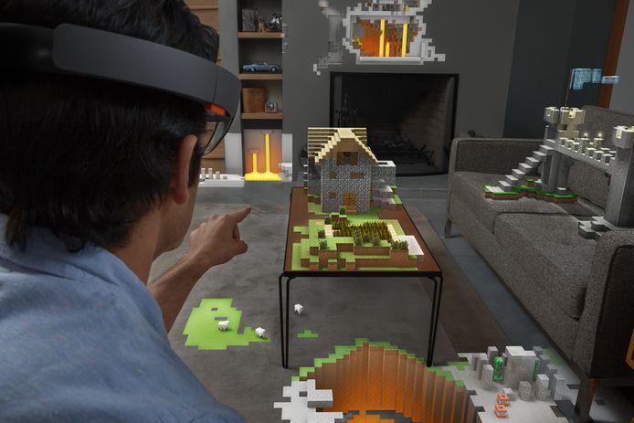 Een rondje van de populaire videogame 'Minecraft' zoals Microsoft-uitvinders het in de toekomst via hun nieuwe hologramtechnologie willen presenteren.