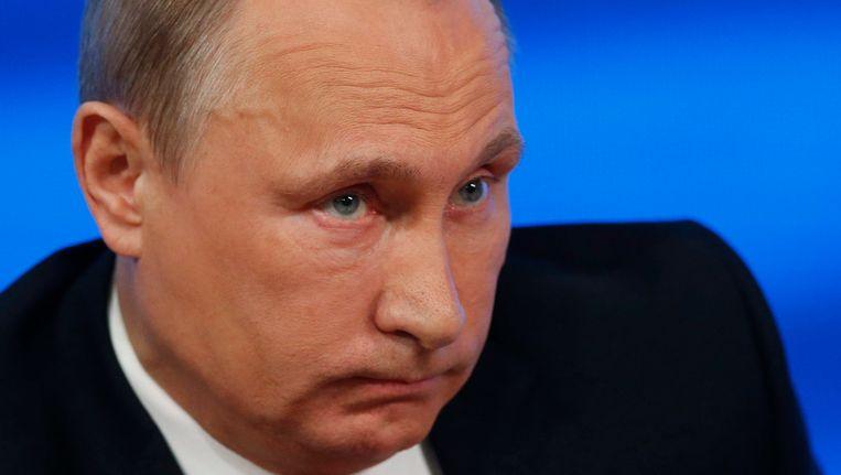 De Russische president Vladimir Poetin tijdens zijn persconferentie vandaag. Beeld EPA