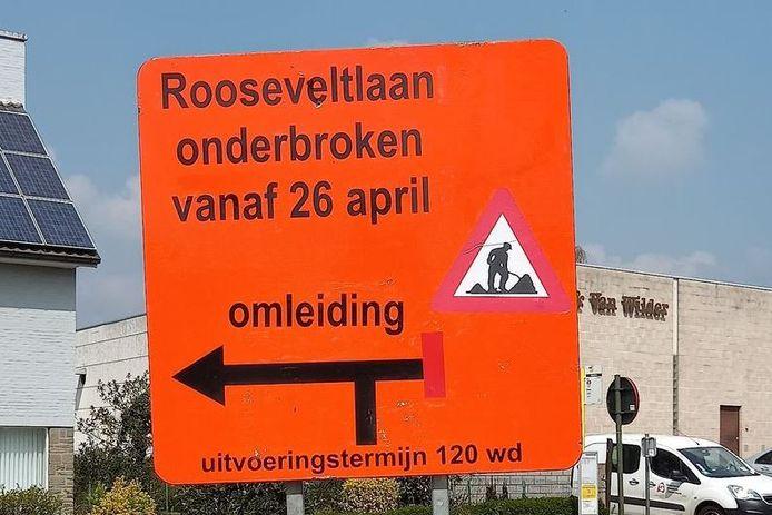 Vanaf 26 april is de Rooseveltlaan onderbroken tussen de kernen van Erpe en Mere.