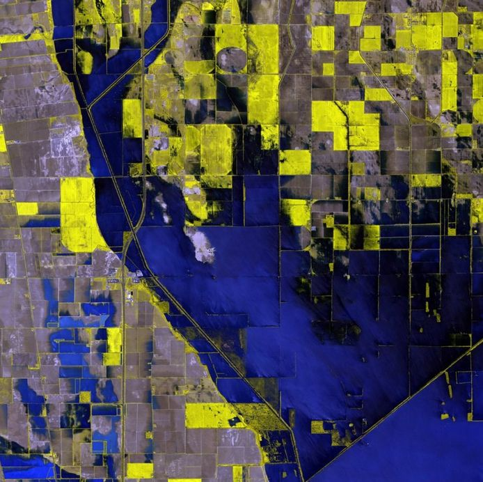 Ondergelopen landbouwgrond in Missouri, VS. © Digitalglobe
