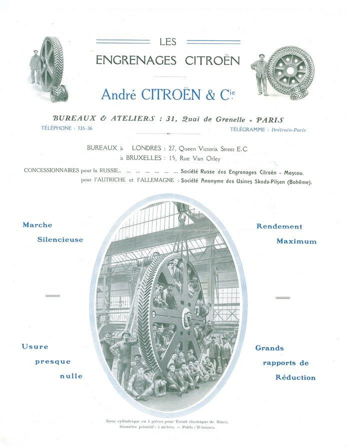 Reclame voor Citroëns 'slimme' tandwielen in 1919, waaruit het merklogo van de Doubles Chevrons (ook wel bekend als sergeant-strepen) is ontstaan