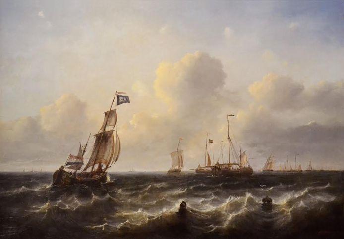 'Een Vlaardingse haringjager zeilende naar de aan de vleet liggende haringvloot', olieverfschilderij door Arij Pleijsier, 1847
