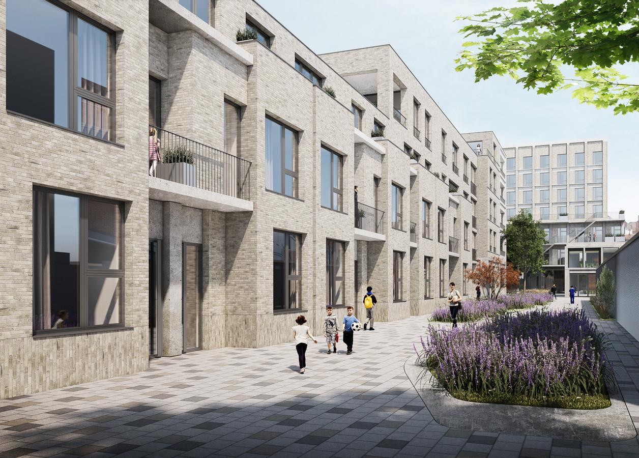 Een impressie van de nieuwe wijk die komt op de huidige ziekenhuiscampus in de Leopoldstraat.
