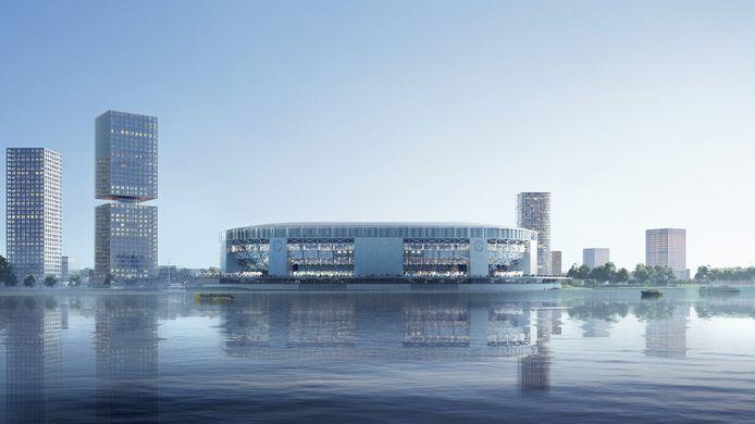 Kersverse impressie van de toekomstige thuisbasis van Feyenoord, nu gezien vanaf de rivier.