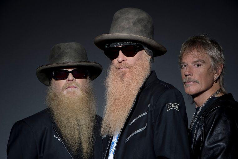 ZZTop, v.l.n.r. Dusty Hill, Billy Gibbons en Frank Beard, zonder baard dus. Beeld rv
