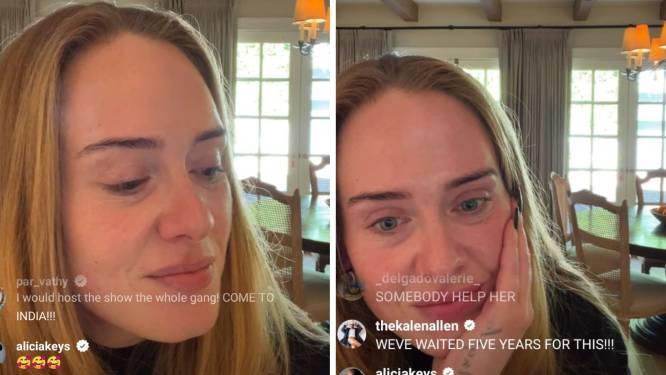 """Adele krijgt wel heel intieme vraag tijdens livestream: """"Laat haar met rust"""""""
