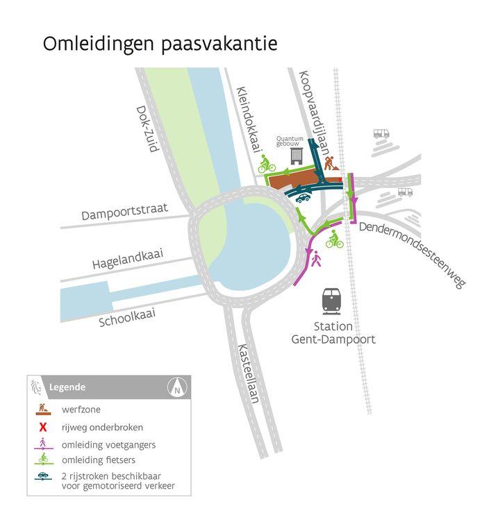 In de week van 5 en 12 april zal er gewerkt worden op de aansluiting van de Antwerpsesteenweg, de Koopvaardijlaan en de Land van Waaslaan richting Dampoort. Voor het autoverkeer zijn tijdens die werken 2 in plaats van 3 rijstroken beschikbaar.