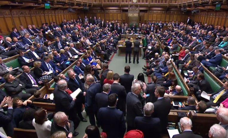 Een afgeladen Lagerhuis, donderdag bij de derde stemming over de Brexit Beeld AFP