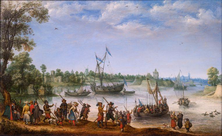 A. Willearts - Het vertrek van de pilgrims uit Delfshaven (1620). Beeld Rose-Marie and Eijk de Mol van Otterloo Collection