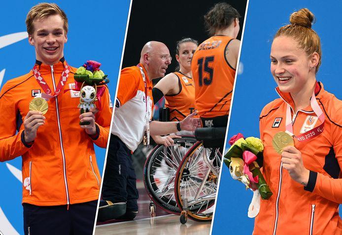 Paralympiërs Rogier Dorsman, Gertjan van der Linden en Chantalle Zijderveld.