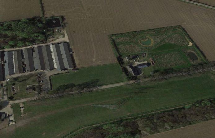Varkenshouderij Hama (links) en het voedselbos-in-aanleg van Harrie Schepers (rechts) aan de Broekkant in Beers.
